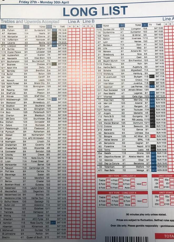 Long list football betting west coast eagles coach betting lines